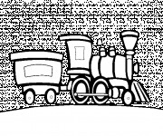 Coloriage Locomotive et Wagon d'un Train à vapeur