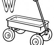 Coloriage et dessins gratuit Wagon et La Lettre W à imprimer