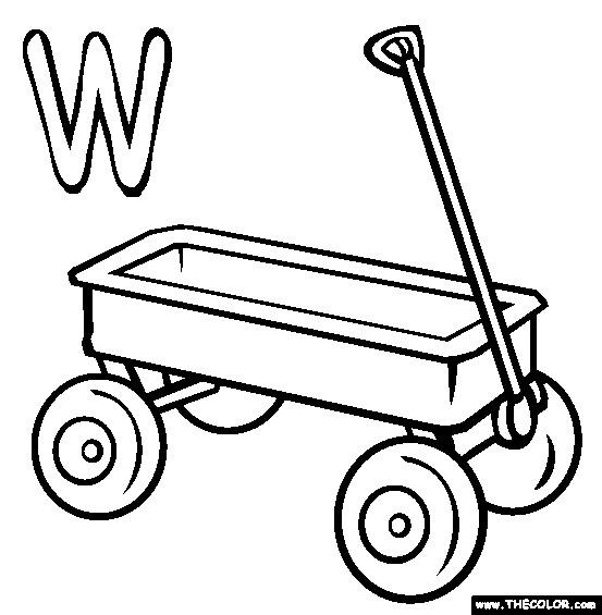Coloriage et dessins gratuits Wagon et La Lettre W à imprimer
